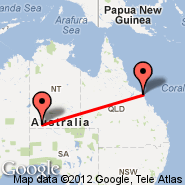 Ayers Rock (Connellan, AYQ) - Airlie Beach (Whitsunday Airstrip, WSY)
