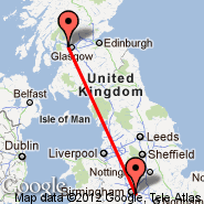 Birmingham (Birmingham International Airport, BHX) - Glasgow (Glasgow International, GLA)