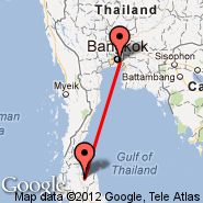 Bangkok (Suvarnabhumi International, BKK) - Surat Thani (URT)