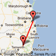 Brisbane (Brisbane International, BNE) - Armidale (ARM)