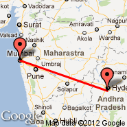 Bombay/Mumbai (Chhatrapati Shivaji International, BOM) - Hyderabad (Chennai Airport, HYD)