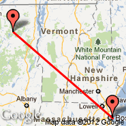 Boston (Logan International, BOS) - Saranac Lake (Adirondack, SLK)