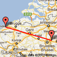 Bruselj (Brussels Airport, BRU) - Oostende (Ostend/Bruges International Airport, OST)