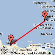 Caracas (Simon Bolivar International Airport, CCS) - Castries (George F L Charles, SLU)