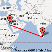 Colombo (Bandaranayake, CMB) - Jeddah (King Abdulaziz International, JED)
