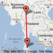 Chiang Mai (Chiang Mai International, CNX) - Surat Thani (URT)
