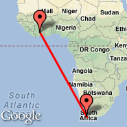 Cape Town (Cape Town International, CPT) - Yamoussoukro (ASK)