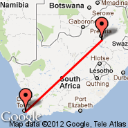 Cape Town (Cape Town International, CPT) - Johannesburg (Oliver Reginald Tambo International, JNB)