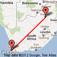 Cape Town (Cape Town International, CPT) - Waterkloof (Waterkloof AFB, WKF)