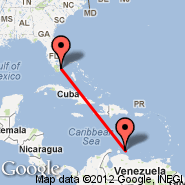 Curacao (Hato International Airport, CUR) - Miami (Miami International Airport, MIA)