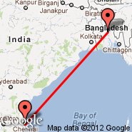 Dhaka (Zia International, DAC) - Chennai/Madras (Madras International, MAA)