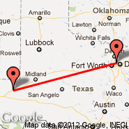 Dallas (Dallas/Fort Worth International, DFW) - Pecos (Pecos City, PEQ)