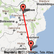Durban (Durban International, DUR) - Bulawayo (Joshua Mqabuko Nkomo International Airport, BUQ)