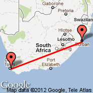 Durban (Durban International, DUR) - Cape Town (Cape Town International, CPT)