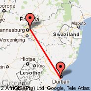 Durban (Durban International, DUR) - Johannesburg (Oliver Reginald Tambo International, JNB)