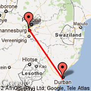 Durban (Durban International, DUR) - Sun City (Pilanesberg, NTY)