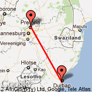 Durban (Durban International, DUR) - Pretoria (Wonderboom Apt., PRY)