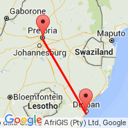 Durban (Durban International, DUR) - Waterkloof (Waterkloof AFB, WKF)