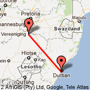 Durban (Durban International, DUR) - Secunda (ZEC)