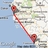 Freetown (Lungi International, FNA) - Banjul (Yundum International, BJL)