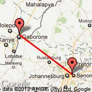 Gaborone (Sir Seretse Khama International, GBE) - Johannesburg (Oliver Reginald Tambo International, JNB)