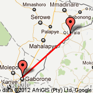 Gaborone (Sir Seretse Khama International, GBE) - Tuli Block (Limpopo Valley, TLD)