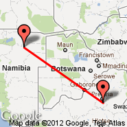 Johannesburg (Oliver Reginald Tambo International, JNB) - Grootfontein (GFY)