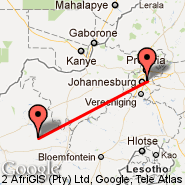 Johannesburg (Oliver Reginald Tambo International, JNB) - Lime Acres (Finsch Mine, LMR)