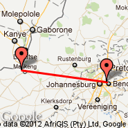 Johannesburg (Oliver Reginald Tambo International, JNB) - Mmabatho (Mafikeng International Airport, MBD)