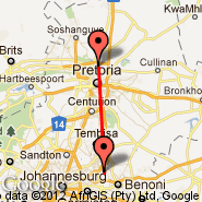 Johannesburg (Oliver Reginald Tambo International, JNB) - Pretoria (Wonderboom Apt., PRY)
