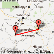 Johannesburg (Oliver Reginald Tambo International, JNB) - Vryburg (VRU)