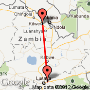 Kitwe (Southdowns, KIW) - Lusaka (Lusaka International Airport, LUN)