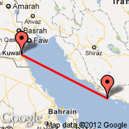 Kuwait City (Kuwait International, KWI) - Lavan Island (Lavan, LVP)