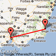 Melbourne (Tullamarine, MEL) - Bega (Off-line Point, QBE)