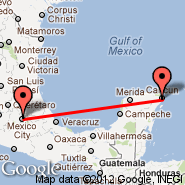 Mexico City (Internacional Benito Juarez, MEX) - Cancun (Cancún International, CUN)
