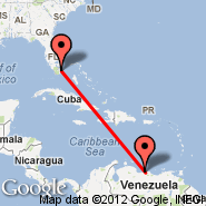Miami (Miami International Airport, MIA) - Caracas (Simon Bolivar International Airport, CCS)