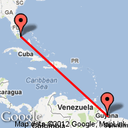 Miami (Miami International Airport, MIA) - Georgetown (Cheddi Jagan International, GEO)