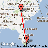 Miami (Miami International Airport, MIA) - Greenville (Greenville Spartanburg International Airport, GSP)
