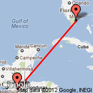 Miami (Miami International Airport, MIA) - Guatemala City (La Aurora, GUA)