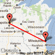 Minneapolis (Minneapolis - St. Paul Intl, MSP) - Milwaukee (General Mitchell International, MKE)