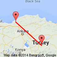 Zonguldak (ONQ) - Kayseri (Erkilet International Airport, ASR)