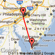 Philadelphia (Philadelphia International, PHL) - Wildwood (Cape May County, WWD)