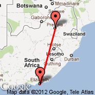 Port Elizabeth (PLZ) - Pretoria (Wonderboom Apt., PRY)