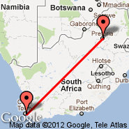 Pretoria (Wonderboom Apt., PRY) - Cape Town (Cape Town International, CPT)
