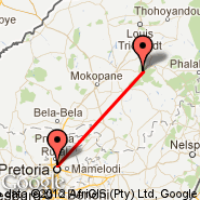 Pretorija (Wonderboom Apt., PRY) - Polokwane (Polokwane International Airport, PTG)