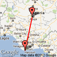 Warri (Osubi Airport, QRW) - Abuja (Nnamdi Azikiwe International Airport, ABV)
