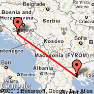 Thessaloniki (Macedonia International, SKG) - Mostar (Mostar International Airport, OMO)