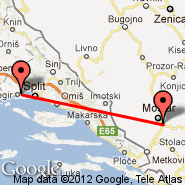 Split (Kastel, SPU) - Mostar (Mostar International Airport, OMO)