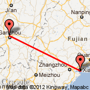 Xiamen (Gaoqi International Airport, XMN) - Ganzhou (KOW)