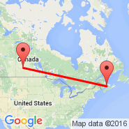 Saskatoon (J.G. Diefenbaker International Airport, YXE) - Moncton (Greater Moncton International Airport, YQM)